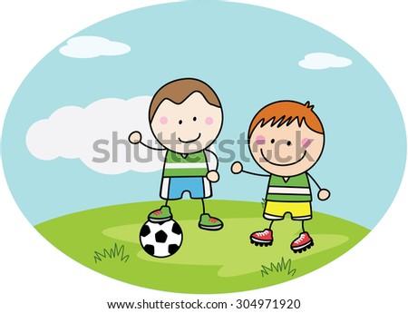 Football kids playing at park - stock vector