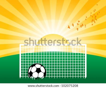 Football on grass field, vector illustration - stock vector