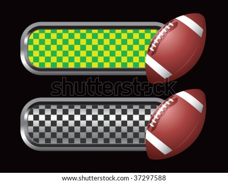 football on green and black checkered tabs - stock vector