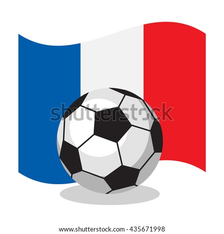 Football or soccer ball with french flag on white background. World cup. Cartoon ball. Concept of championship, league, team sport. Game for kids and adults. Cheering and sport fans concept. - stock vector