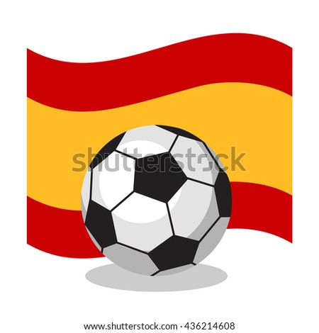 Football or soccer ball with spanish flag on white background. World cup. Cartoon ball. Concept of championship, league, team sport. Game for kids and adults. Cheering and sport fans concept. - stock vector