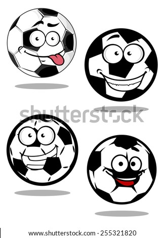 Football or soccer balls cartoon characters with googly eyes and smiling faces suitable for sporting mascot or logo design - stock vector