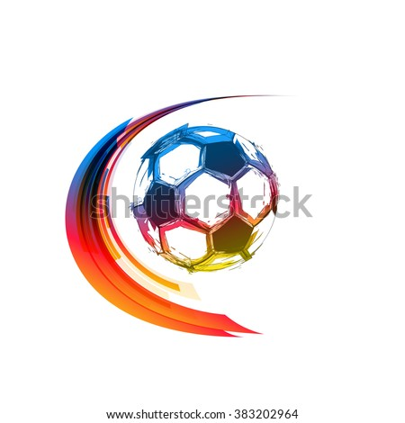 Football or soccer color balls with motion trails  - stock vector