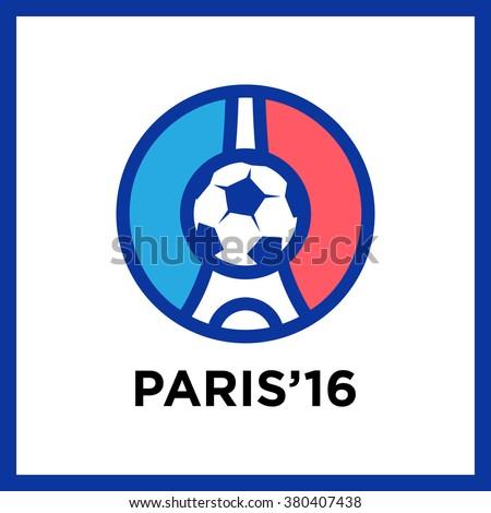 Football or soccer France Euro 2016 logos. Eiffel Tower Logo Paris. Icon design. Vector Illustration - stock vector
