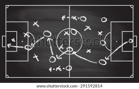 Football or soccer game strategy plan isolated on blackboard texture with chalk rubbed  background. Sport infographics element. Vector illustration.