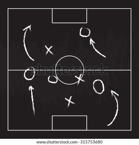 Football or soccer game strategy plan isolated on blackboard texture with chalk rubbed background. Sport infographics element.