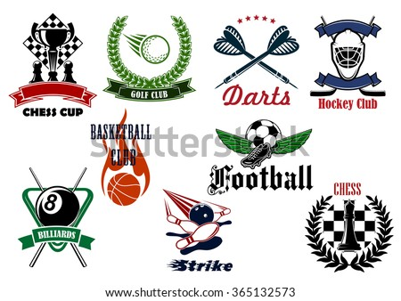 Football or soccer, golf, ice hockey, basketball, bowling, chess, billiards and darts sport emblems with heraldic elements and sporting items