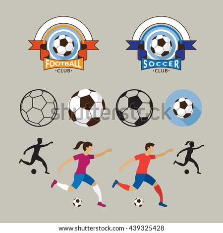 Football or Soccer Player and Graphic Elements, Logo, Ball, Athlete, Equipment
