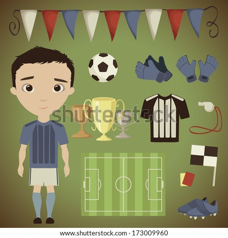 Football player and his gear - stock vector