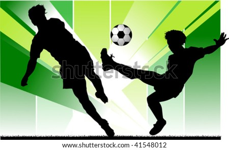 football player attack gate of the opponent; - stock vector