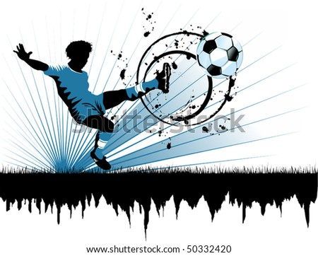 football player attack gate of the opponent (vector and illustration); - stock vector