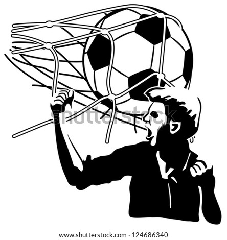 Football player exulting while the ball inflates the net - stock vector
