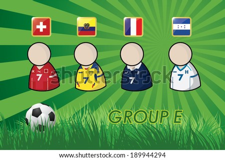 football Player icons and Flags for soccer 2014 group E on grass background and soccer ball. vector illustration EPS10. - stock vector