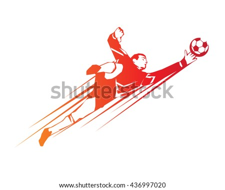 Football Player In Action Logo - Save By The Goalkeeper - stock vector