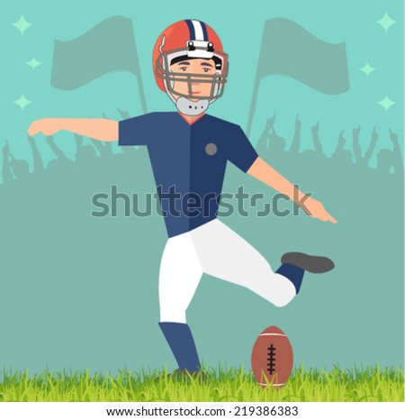 football player in the stadium - flat design vector