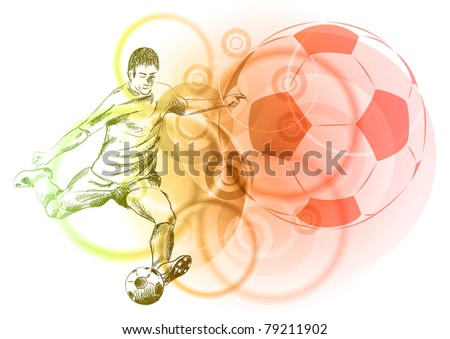 football player on the light background - stock vector