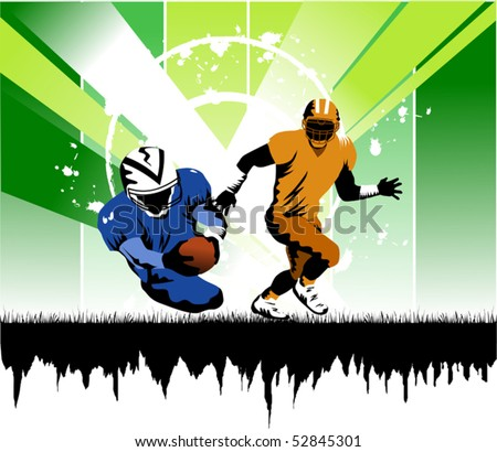 football player running with the ball in his hands to the gate of rival; - stock vector