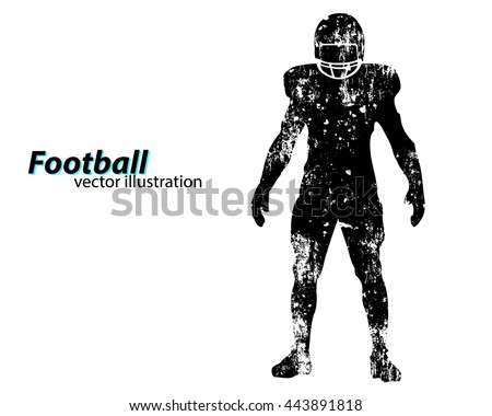 Football player silhouette. Text on a separate layer, color can be changed in one click. Rugby. American football - stock vector