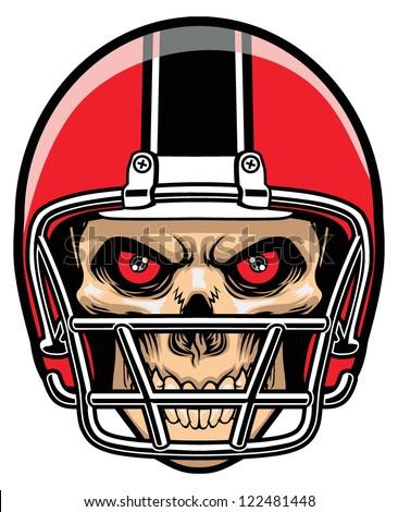 football player skull - stock vector