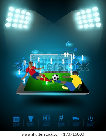 Football player striking the ball at the stadium, Technology communication, Creative virtual networking information process diagram connection on tablet computer, Vector illustration modern template - stock vector