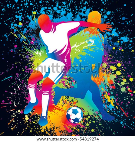 Football players with a soccer ball. Vector illustration. - stock vector