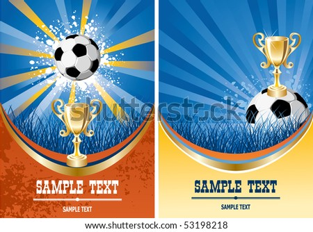 Football poster with champion cup and  place for your text - stock vector