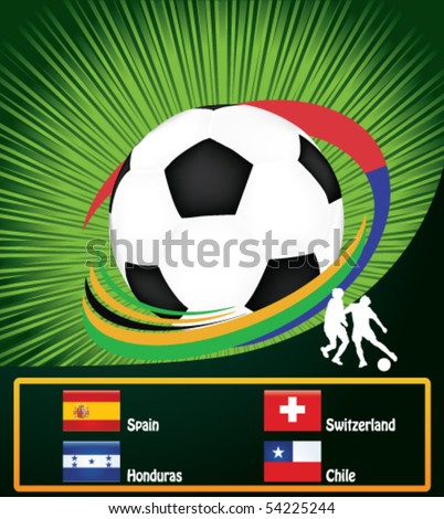 football poster with national flags - stock vector
