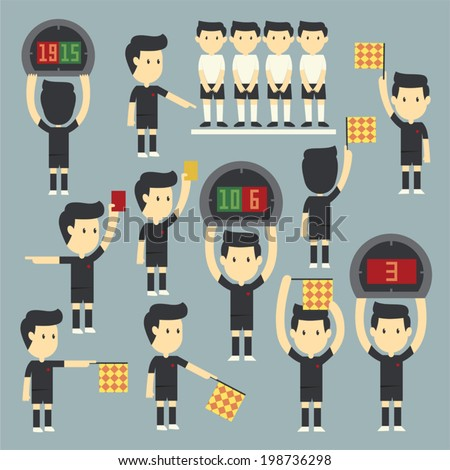 Football referee set - stock vector