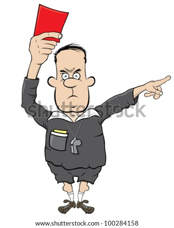 Football referee with red card - stock vector