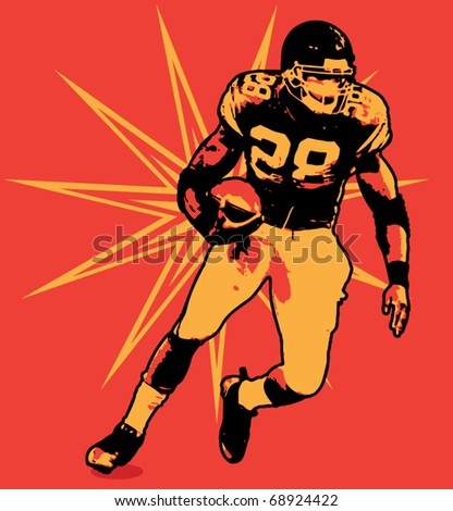 Football Running Back Illustration - stock vector