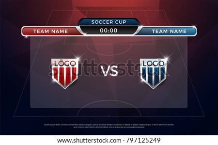 football scoreboard team a vs team b broadcast graphic soccer template football score graphic for