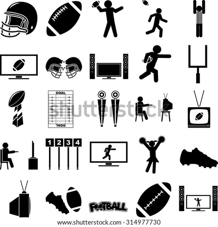 football season symbols set - stock vector