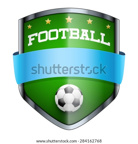 Football Shield badge. The symbol of the sports club or team. Vector Illustration isolated on white background. - stock vector