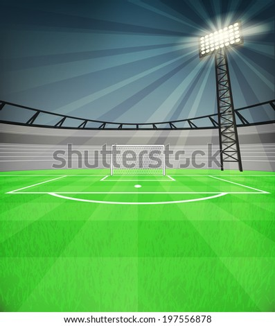 football shooter goal view with shiny reflector at night vector illustration - stock vector