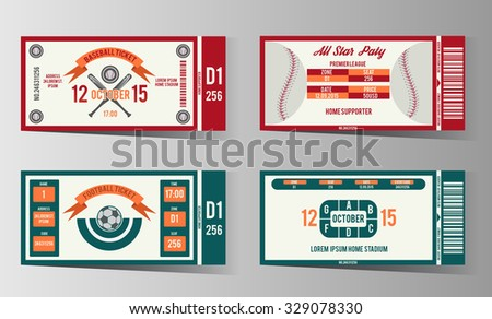 Football, soccer and Baseball ticket vector design template. Card invitation game illustration - stock vector