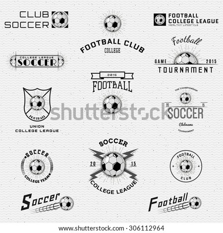 Football, Soccer badges logos and labels can be used for design, presentations, brochures, flyers, sports equipment, corporate identity, sales - stock vector