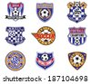 Football Soccer Badges, Patches and Emblem Vector Set - stock vector