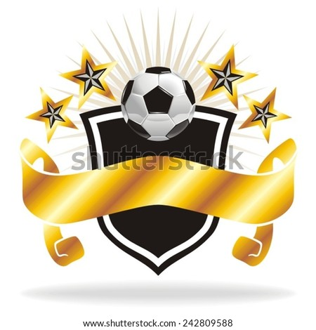 Football - Soccer Ball Banner Crest A Football shield crest featuring a soccer ball, decoration icons and a banner ready to be written on. - stock vector