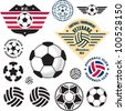 Football Soccer ball. Football Soccer Club emblem vector set. - stock photo