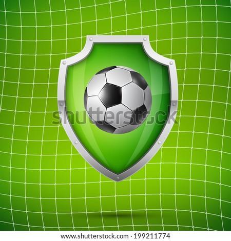 Football Soccer ball  goalkeeper concept, Vector realistic illustration. - stock vector