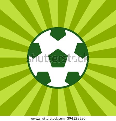 Football soccer ball icon. Long shadow flat design. Vector illustration.Icon of a soccer ball in green retro rays - stock vector