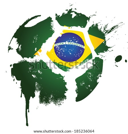 Football / Soccer - Brazil  - suitable for posters, flyers, brochures, banners, badges, labels, wallpapers, web design, advertising, publicity or any branding. - stock vector