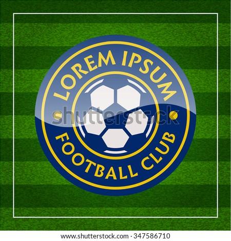 football (soccer) crest on green background. football club emblem - stock vector