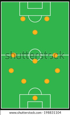 Football, soccer formation vector set 4-3-3 eps10 - stock vector