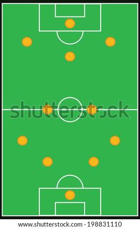 Football, soccer formation vector set 4-2-3-1 eps10 - stock vector