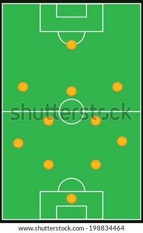 Football, soccer formation vector set 4-5-1 eps10 - stock vector