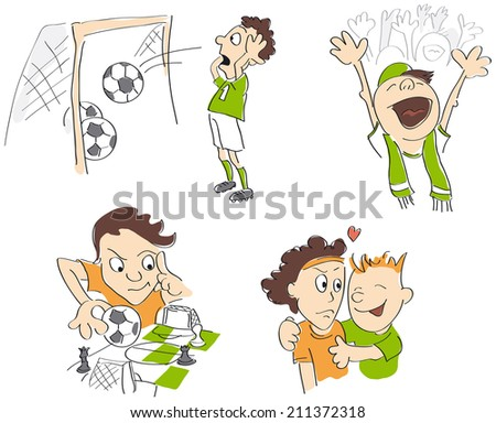 Football - soccer funny caricatures - fair-play, strategy, fans, loss. Vector illustration - stock vector