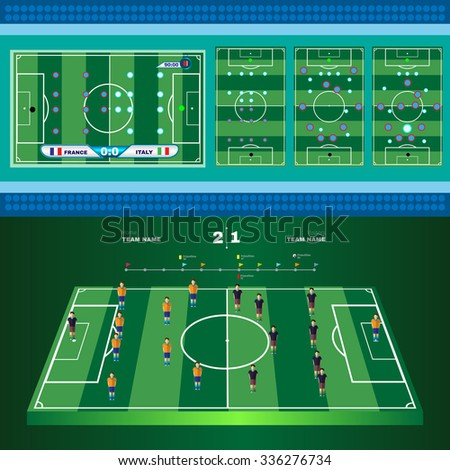 Football Soccer Game Strategy Plan. Soccer Players and Match Score. Football 3D Game Field. France versus Italy Team. Digital background vector illustration.  - stock vector