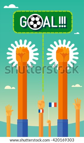 Football (soccer). Goal. Hands of the players and the fans throw up triumphantly.  In the flat style. Colors form French national team. eps8