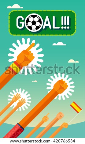 Football (soccer). Goal. Hands of the players and the fans throw up triumphantly. In the flat style. The colors of the Spain national team and the flag. eps8 - stock vector